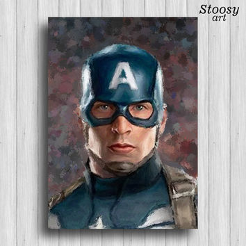 Captain America poster avengers wall art superhero watercolor