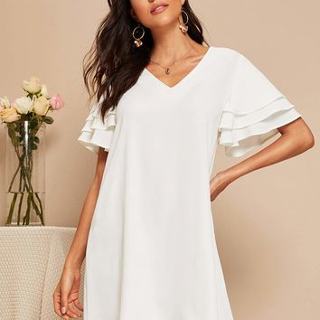 Solid V Neck Layered Sleeve Tunic Dress