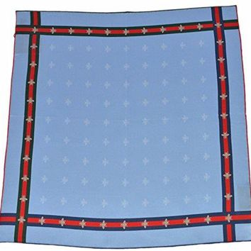Gucci Men's Silk Bee Pattern Red Green Web Square Pocket Handkerchief Scarf (Blue)