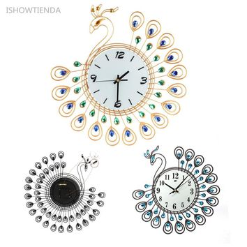 ISHOWTIENDA Vintage Style Peacock Antique Wall Clocks, Ideal For Multiple Use.