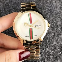 GUCCI Popular Women Men Simple Movement Quartz Watch Wrist Watch Golden I-H-JH