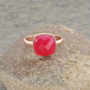 Hot Pink Chalcedony Faceted Cushion 10mm Micron Rose Gold Plated 925 Sterling Silver Ring - #1343