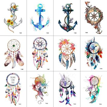 WYUEN 12 PCS/lot Dreamcatcher Anchor Temporary Tattoo Sticker for Women Men Body Art Waterproof Hand Fake Tatoo 9.8X6cm W12-10