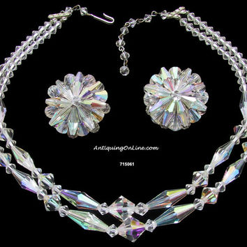 Vintage Aurora Borealis Necklace Earrings Wedding Jewelry Set