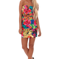 Bright Floral V and Keyhole Front Mini Dress