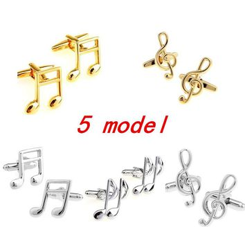 5 model High Quality Piano Guitar Saxophone Trump Drums Note Music Cufflinks For Mens Wedding Gifts Cuff Links Gemelos Botones