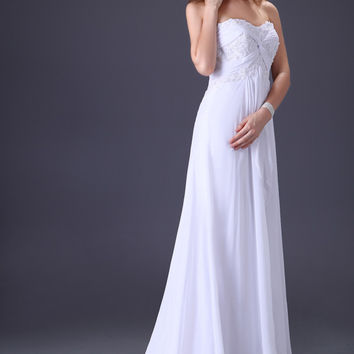 Ivory Strapless Beaded Ribbon Mermaid Long Tail  Bridal Dress