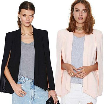 DCCKWQA New Ladies Women Long Sleeve Lapel Cape Poncho Office Jacket Cloak Blazer Suit Coat SH8