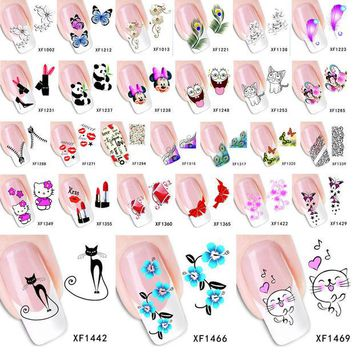 VONE2B5 1 Sheet 2015 Top Sell Flower Bows Etc Water Transfer Sticker Nail Art Decals Nails Wraps Temporary Tattoos Watermark Nail Tools