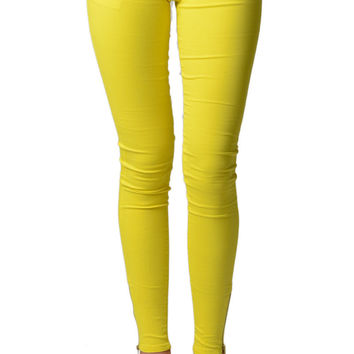Yellow Ankle Zipper Skinny Jeans