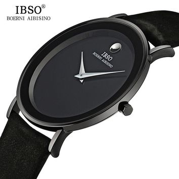 IBSO 6MM Ultra Slim Mens Watches Brand Luxury Genuine Leather Strap Fashion Quartz Watch Men 2017 Waterproof Relogio Masculino