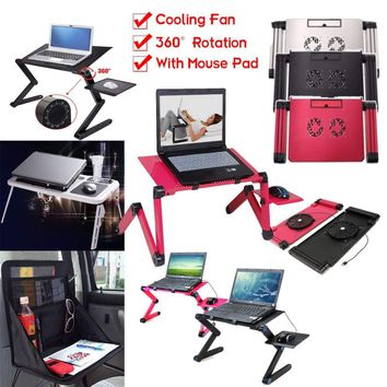 360° Portable Foldable Laptop Notebook Desk Table Stand Bed Tray w/ Cooler Fan