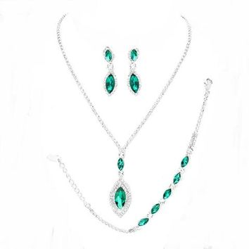 Emerald Green Clear Rhinestone Silver Set 3 Pcs Bracelet Earrings Necklace Set