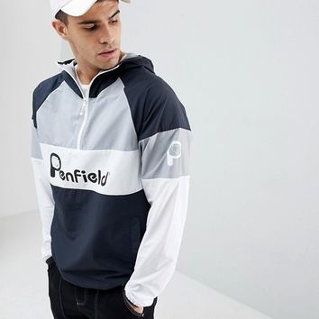 Penfield Block Overhead Hooded Jacket Front Logo in Black/White/Grey at asos.com