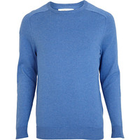 River Island MensBlue elbow patch sweater