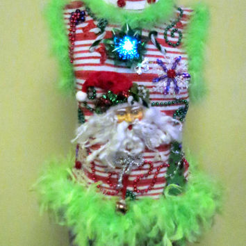 Candy Cane Striped Red White Green Feather Foo-Foo Fun Women's Light up Color Changing Bow Tacky Ugly Christmas Sweater Sz Large Sleeveless