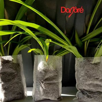 20 x Non Woven White Fabric Eco Friendly Mini Seedling Bags 6.8cm x 10.2cm. Bio Containers For Your Seeds, Plantlets, Flowers & Houseplants