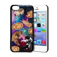 Shawnex Springink Hipster Cat Flying Pizza Nebula Space iPhone 5C Case - Thin Shell Plastic Protective Case iPhone 5C Case