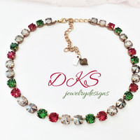 Country Christmas, Swarovski 8mm Crystal Necklace, Holiday Jewery, Red, Green, Neutrals, Bronze, DKSJewelrydesigns, FREE SHIPPING