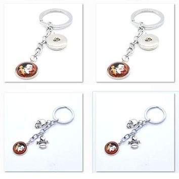 2017 New Football Keychain NCAA Florida State Seminoles Charm Key Chain Car Keyring for Women Men Party Birthday Keyrings Gifts