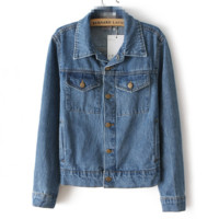 FREE SHIPPING Autumn new women's wear washed denim long-sleeve jackets