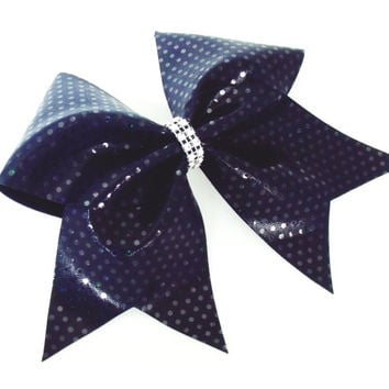 Cheer bow, Navy blue cheer bow, sequin cheer bow, cheerleading bow, cheerleader bow, softball bow, pop warner cheer bow, dance bow, Cheerbow