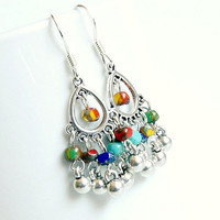 silver jingle jangle chandelier earrings, colorful, bohemian, hippie, gypsy, rainbow