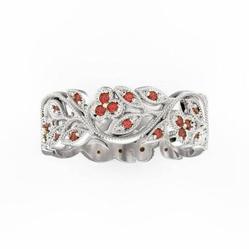 Twig Ring Red Leaf Ring Floral Ruby White Gold Filigree ring Milgrain Ring Wedding band Asian Ruby Ring Engraved Ring Flower Wedding Band