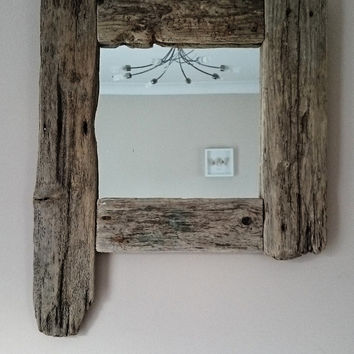 Unique handmade reclaimed beach costal driftwood mirror 2ft x 1.5ft