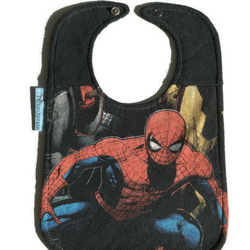 Spiderman Bib Superhero Baby Bib Upcycled T-shirt Bib