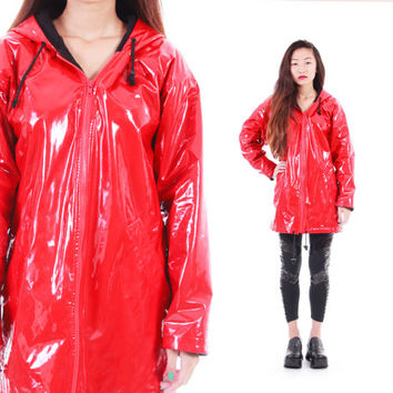 Cherry Red PVC Raincoat Hooded Long Slicker Insulated Warm Wet Weather 80s 90s Vintage Outerwear Womens Size Small Medium