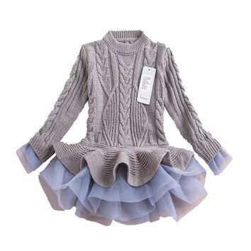 Toddler Girl Dresses Girls Knitted Sweater Dresses Princess Pullovers Sweaters Princess Dress With Lace Shrugs For Autumn Winter