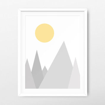 Geometric Mountain Printable Gray - Geometric Wall Art - Geometric Prints - Mountain Printable - Mountain Download - Wall Print