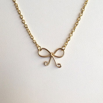 Bow Necklace // Tie the Knot Necklace // Gold // Silver