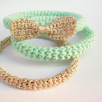 FREE SHIPPING, Crochet bracelet Bangle Mint and gold Mint prom Bow bracelet Chunky bracelet
