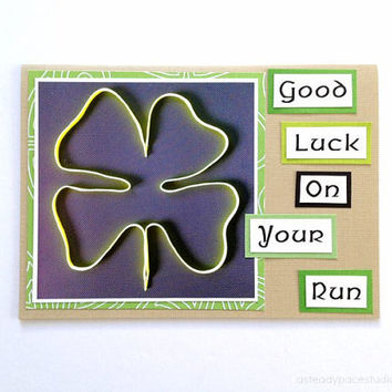 Good Luck On Your Run Shoestring Shamrock Handmade Greeting Card for Runners (Blank Inside) - St. Patty's Day theme