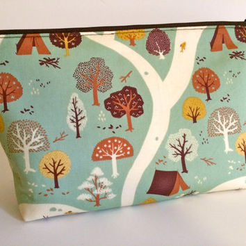 Extra Large Cosmetic Bag Toiletry Bag Travel Bag Makeup Bag in Teepee Trail