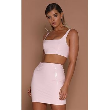 Pink Liquid Love Latex PU Faux Leather Shiny Faux Leather Bodycon Mini Skirt