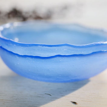 MADE TO ORDER - Pair of small blue color kilnformed glass dish murano glass