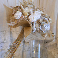 Rustic Burlap Bridal Bouquet. Ready to Ship!