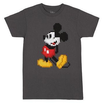 Mickey Mouse Pixeled Image Disney Licensed Adult Unisex T-Shirt - Gray - L