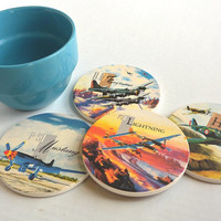 Airplane Coasters-World War II Fighter Jets-Set of 4 Ceramic Coasters- Airplane Gift