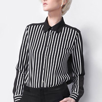 Black and White Stripe Collared Long Sleeve Blouse