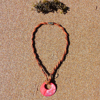 Goddess Coral, Brown & Rust Braided Genuine Leather and Suede Shell Pendant Necklace