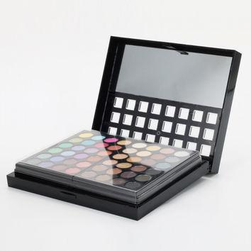 New 78-Color Eyeshadow + Lip Gloss Cosmetic Palette Makeup Kit with Brush Black
