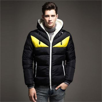 New Winter Jacket Men Coat Cotton Padded Jackets Fashion England Hooded Patchwork Plus Velvet Warm Plus Size Outerwear
