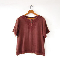 Vintage embroidered shirt. Burnt sienna brown tee shirt. Henley t shirt. Boho Ethnic Hippie Top.