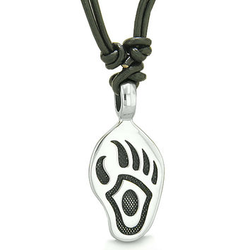Amulet Bear Paw Brave Protection Powers Lucky Charm Pendant Necklace Leather Pendant Necklace