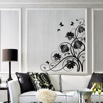 Wall Decal Beautiful Flowers Perfect Room Decor Art Vinyl Stickers Unique Gift (ig2799)