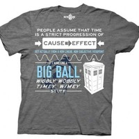 Doctor Who Wibbly Wobbly Quote Adult Gray T-Shirt - Doctor Who - | TV Store Online
